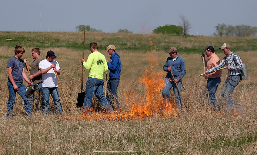 Agriculture Program Students burning off field