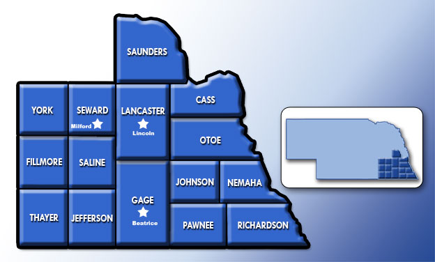 Southeast Nebraska Service Map